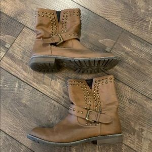 Bumper Shoes - Studded Moto Brown Boots